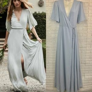 WAYF aurelia light blue wrap maxi dress gown